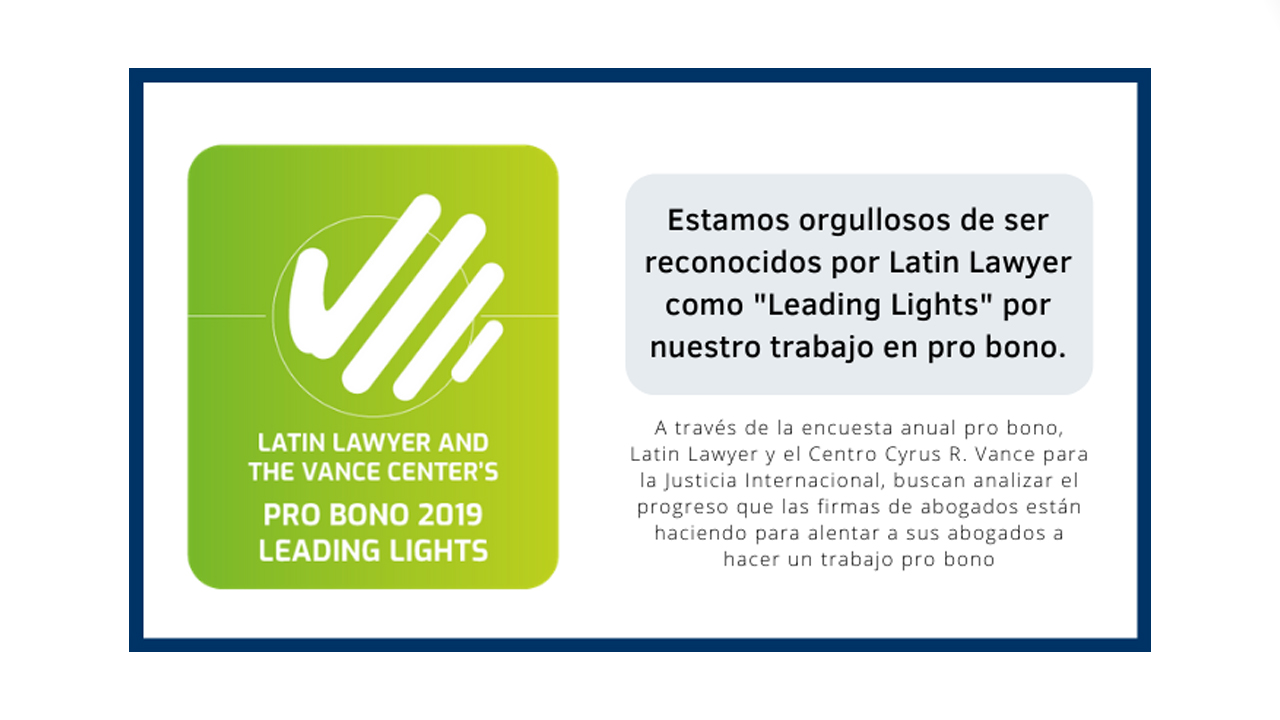 Latin Lawyer y Cyrus R Vance Center por distinguir a Bruchou como Leading Lights